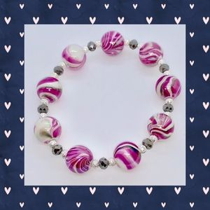 Pink Marble and Gray Faceted Bracelet